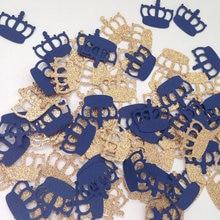 Золотая Корона темно-синий и золотой Маленький принц Таблица Конфетти Выпускной на день рождения Scatters душа ребенка Декорации для вечеринок