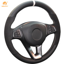 MEWANT Black Genuine Leather Black Suede White Marker Car Steering Wheel Cover for Mercedes Benz C180 C200 C260 C300 B200
