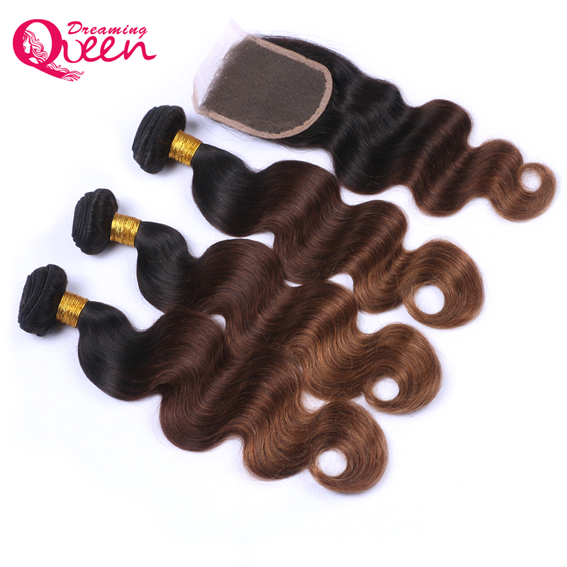 1b/#4 /30 Color Brazilian Body Wave Human Hair 3 Bundles with 4X4 Lace Closure Non Remy Hair Dreaming Queen Hair