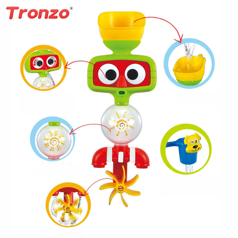 Tronzo 1Pcs Multicolor Fun Baby Bath Toys Automatic Spout Play Taps/buttressed Folding Spray Showers Toy Faucet Play with Water