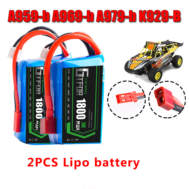 GTFDR 2pcs Li-Polymer 2S Lipo Battery 7.4V 1800mah 20C Max 40C for Wltoys A959-b A969-b A979-b K929-B RC Car Boat Quadcopter FPV