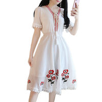 Ball Gown Mini Dress White Women New 2019 Fashion Summer Dresses Women Short Sleeve High Waist Slim Chiffon Floral Dress f194