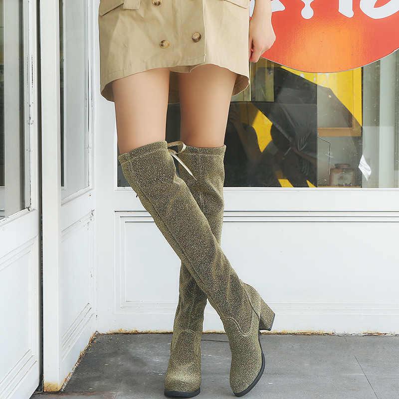 ... Lucyever New Design Women Fashion High Heels Bling Over The Knee Boots  Autumn Winter Luxury Glitter ... 4d7a4e4234d9