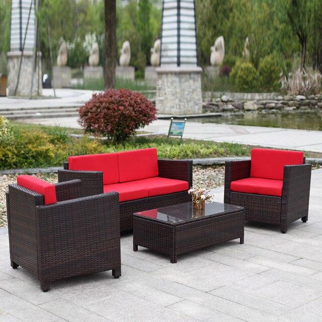 iKayaa 4PCS Wicker Cushioned Outdoor Patio Furniture Set Garden Set Lawn Sofa Couch Set Rattan Weave FR Stock