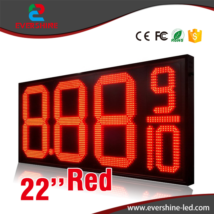 High Brightness 8.889/10 22 Inch LED Digital Number LED Gas Price panel and Oil Petrol Station Price LED Display Sign Screen hd high quality led gas price display sign outdoor led billboard green color 12 outdoor led display screen
