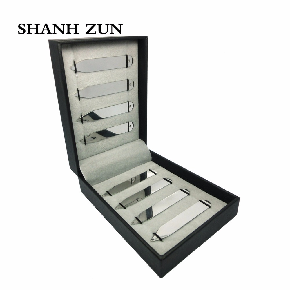 SHANH ZUN High Polished Stainless Steel Shirt Collar Stays Bones with Holes 8 Pcs Box Set for Male 2.5 Men's Jewelry wlxy wl 1301 high peed steel drills set 13 pcs page 3