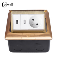 Coswall Pure Copper Gold Panel Pop Up Floor Socket 16A French Standard Power Outlet With Dual USB Charge Port Metal Mounting Box