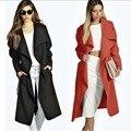 New Fashion Wool Blend Trench Coat Women Winter Coats and Jackets Solid Long Windbreaker Women Plus Size Wool Coat with Belt