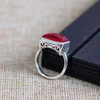 925 silver items listed on the new women's gentle van classic women's red corundum S925 opening ring