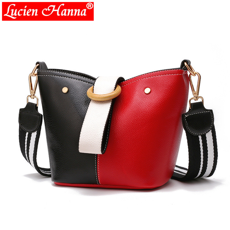 Designer Panelled Wide Strap Bags Women Handbags Buckle Hit Color Black Red Patchwork Female Bags Casual PU Leather Shoulder Bag stylish women s hit color spaghetti strap blouse