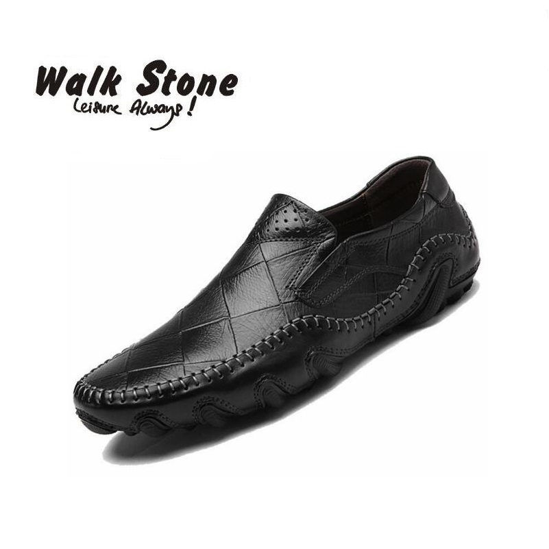 High Quality Genuine Leather Men Casual Shoes Slip On Fashion Mens Loafers 2018 Brand Boat Walking Driver Designer Man Moccasins branded men s casual crocodile genuine leather shoes fashion slip on penny loafers men s business step in boat shoes moccasins