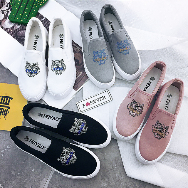 large Size 35-40 fall autumn 2016 Women Fashion Slip On Woman Flat Casual Shoe Canvas Leisure espadrilles slipony student shoes