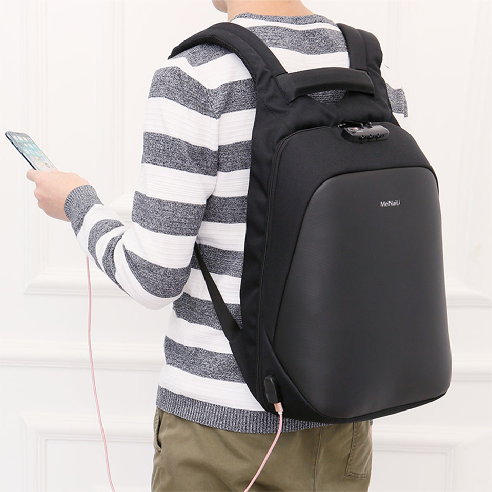 Anti Theft Backpacks Man Male Bag Large Capacity 15 6 Inch Laptop Notebook Backpack Black Business USB Bagpack Travel Back Pack in Backpacks from Luggage Bags