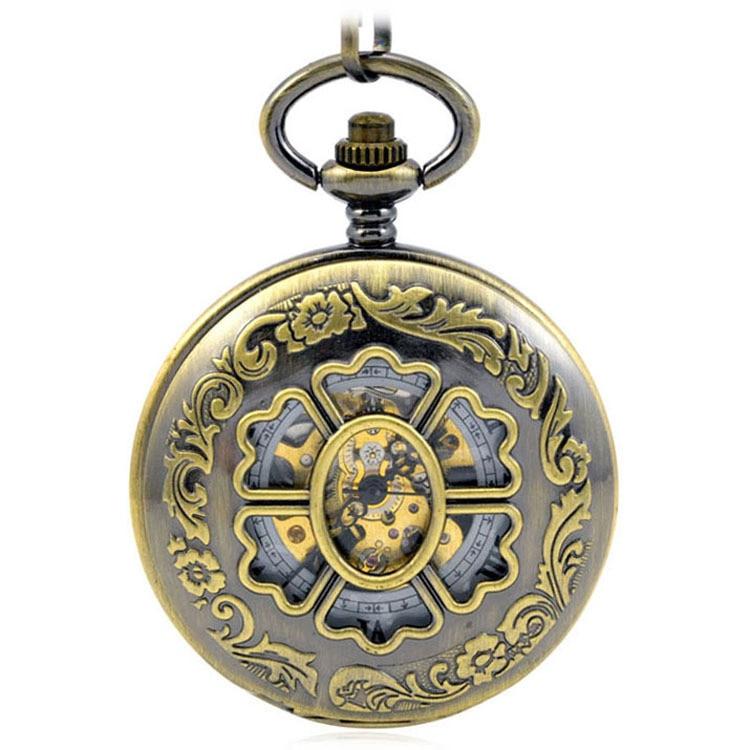 Relógio para Mulheres dos Homens Caçador de Presente Antigo Esqueleto Mecânica Vento Virar Case Duplo Bolso & Fob Relógios Preto Relógio Pingente Mão