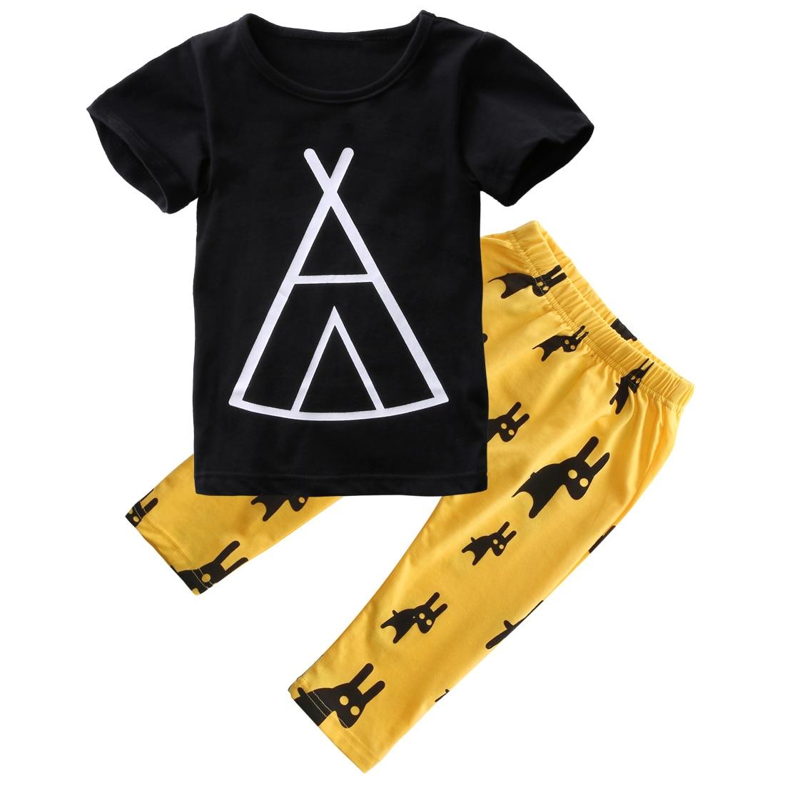 2pcs Newborn Baby Boy Clothes Set Fashion Casual T-shirt Tops+Long Print Pants 2017 Hot Cute Outfits Set
