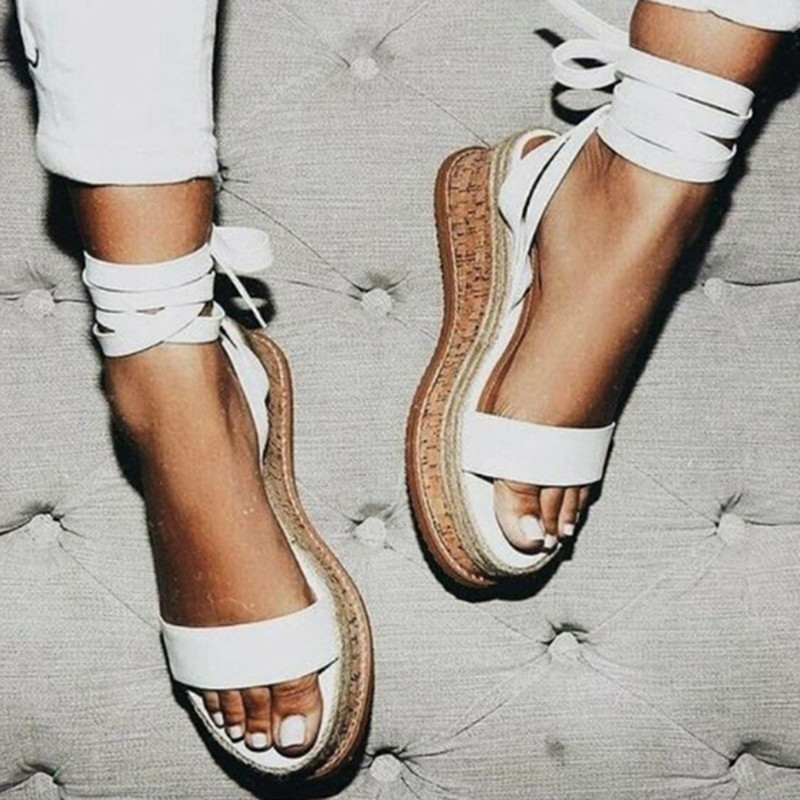 Platform Sandals Espadrilles Lace-Up White Wedge Open-Toe Casual Women Summer Gladiator