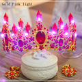 Luxurious Glowing Tiaras For Women Wedding Light Rhinestone Crowns Princess Diadem and Earrings Bridal Hair Accessories HG107