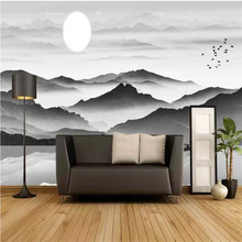 Black and white wallpaper hand-painted ink landscape TV background wall professional custom mural photo wallpaper