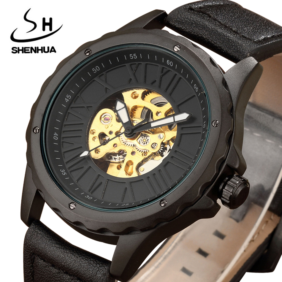 SHENHUA Automatic Mechanical Watches Men Gift Box Luxury Brand Leather Strap Steampunk Skeleton Mens Watches Relogio Masculino luxury brand shenhua steampunk transparent skeleton crystal flywheel automatic genuine leather strap dress mens mechanical watch