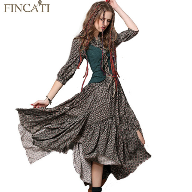 2018 Spring Summer Style Women Bohemian Dress Vintage Tunic Cotton Combo Dresses Stand Collar Three Quarter