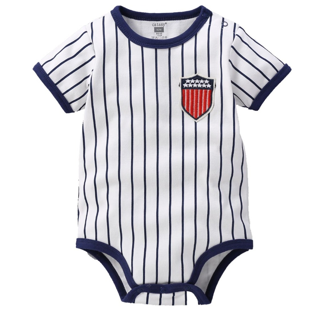 Fashion Striped Short Sleeve Baby Jumpsuit For Boys And Girls Rompers 100% Cotton Body Suites With Quality Assurance