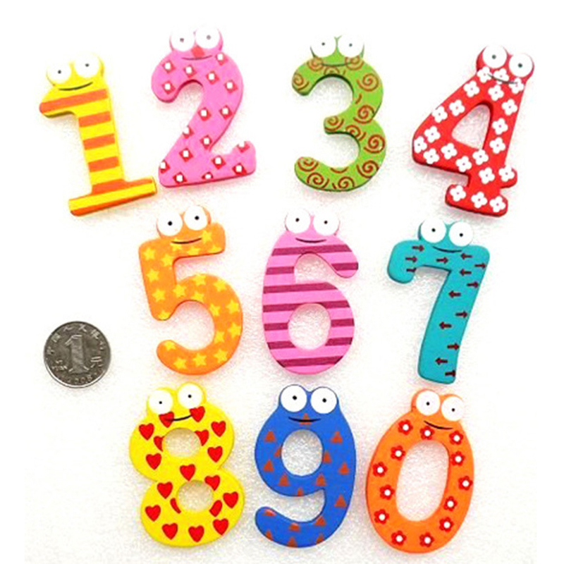 2018 New Hot 10pcs Fridge Digital Magnets Early Learning Educational Toys Wooden Math Removable For Baby Kids Stickers