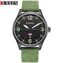 CURREN Luxury Casual Men Watches Army Green Leather Strap Male Clock Display Date Quartz Wristwatch erkek kol saati Montre Homme