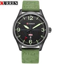 ساعة رجالية غير رسمية فاخرة من CURREN مزودة بحزام جلد أخضر اللون ساعة رجالية تعرض التاريخ ساعات يد كوارتز erkek kol saati Montre Homme