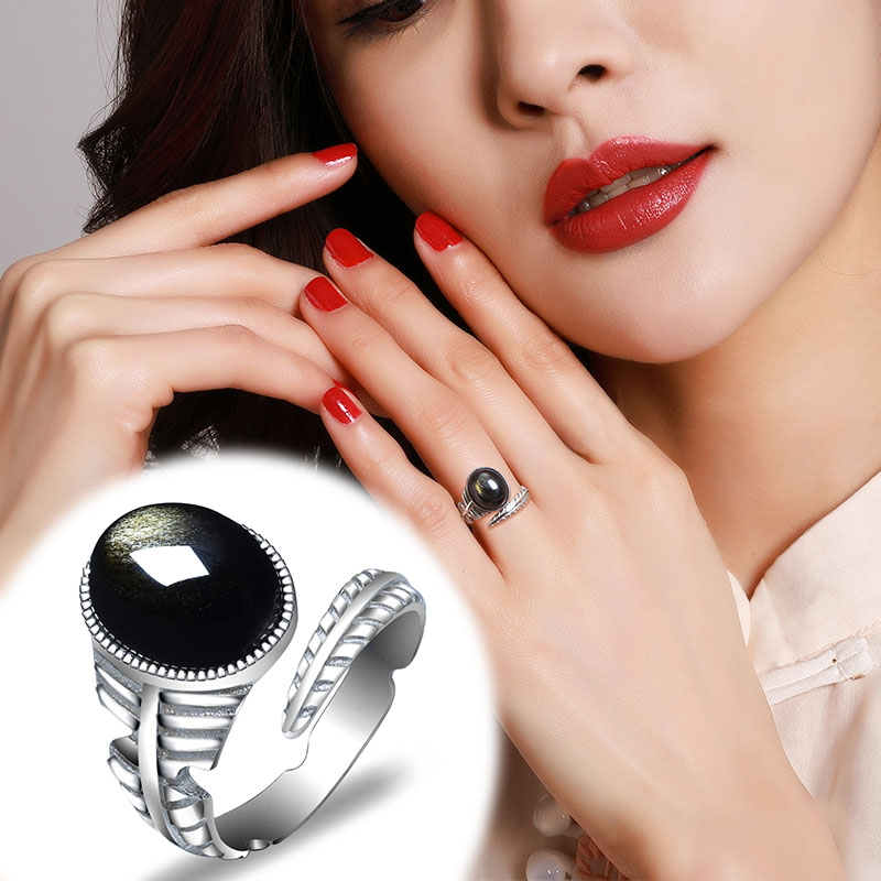 2019 Special Offer Promotion Lovers Rings Anillos Anel Obsidian Living Mouth Ring Ladys Meaning S925 With Opening Certificate 2019 Special Offer Promotion Lovers Rings Anillos Anel Obsidian Living Mouth Ring Ladys Meaning S925 With Opening Certificate