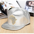 Summer Hiphop Leather Cap Leopard Patchwork Snapback Gorras Baseball Caps Casual Adjustable Map of Africa Diamond inlay Hat