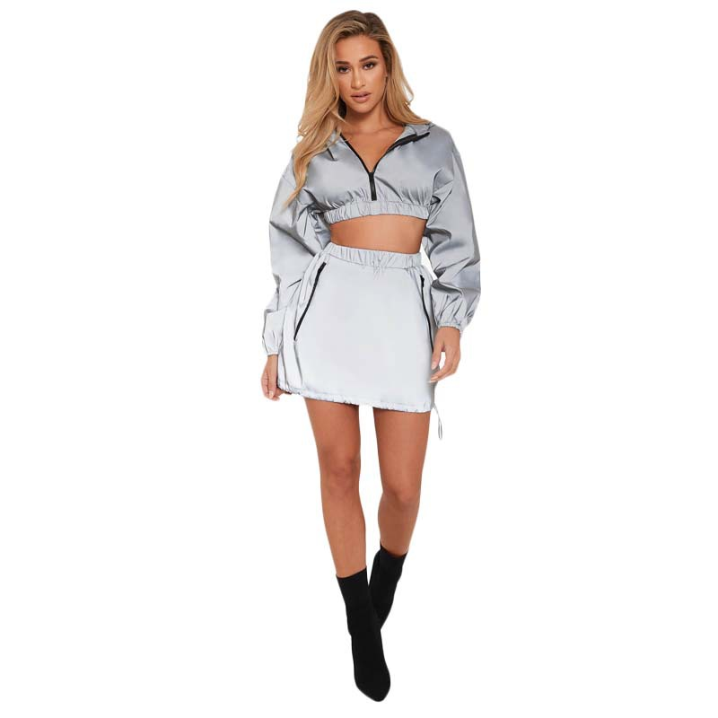 New 2019 Summer Women 2 Piece Tracksuit Fashion Zipper Hooded Crop Top And Mini Skirt Gray Suits Woman Sportsuots Two Pcs Sets