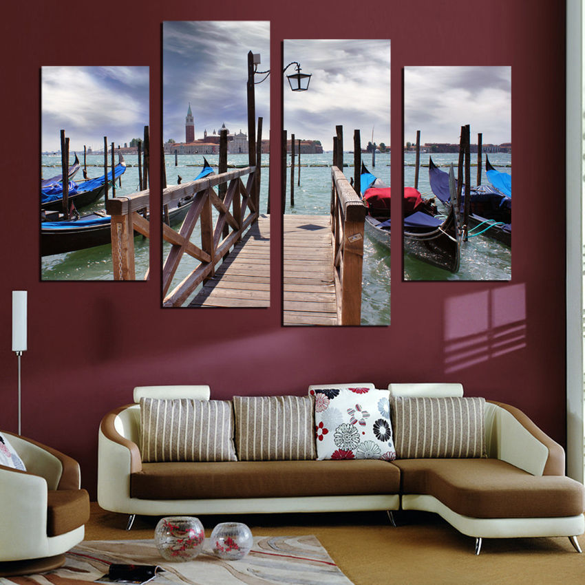 2017 Wood Bridge 4 Paneler Canvas målning Vardagsrum Dekorativ Hem - Heminredning - Foto 3