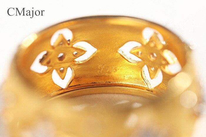 Image 5 - CMajor, итальянские ювелирные изделия из серебра 925 пробы, полые кольца в виде четырехлистного клевера, элегантные винтажные золотые кольца на День Святого Патрика для женщин-in Помолвочные кольца from Украшения и аксессуары
