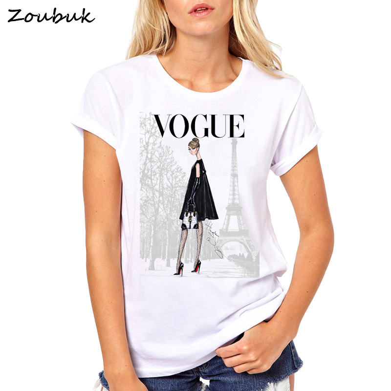 Summer Style Vintage vogue Print Paris T Shirt Women Loose New Fashion Female Casual New O-Neck tshirt 2018 Tops&Tees