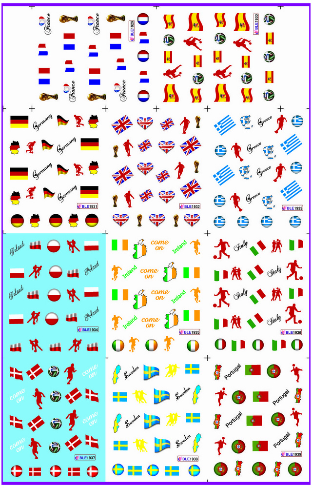 11 PACK/ LOT WATER DECAL NAIL ART NAIL STICKER SPORT FOOTBALL SOCCER WORLD CUP NATIONAL FLAG BLE1929-1939
