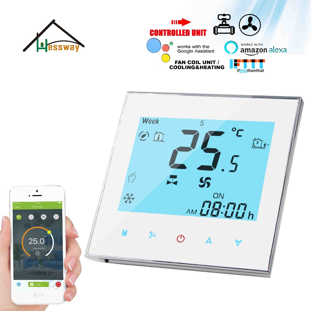 HESSWAY 24v,95-240VAC 2P Cooling&heating Fan Coil Wifi Thermostat Valve Proportional Integral For Regulated 0-10V