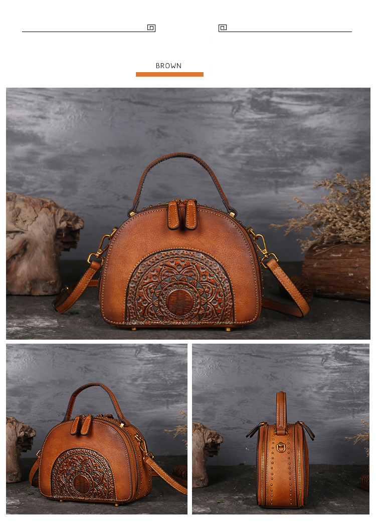 18 Luxury Women Genuine Leather Handbags Ladies Retro Elegant Shoulder Messenger Bag Cow Leather Handmade Womans Bags 4