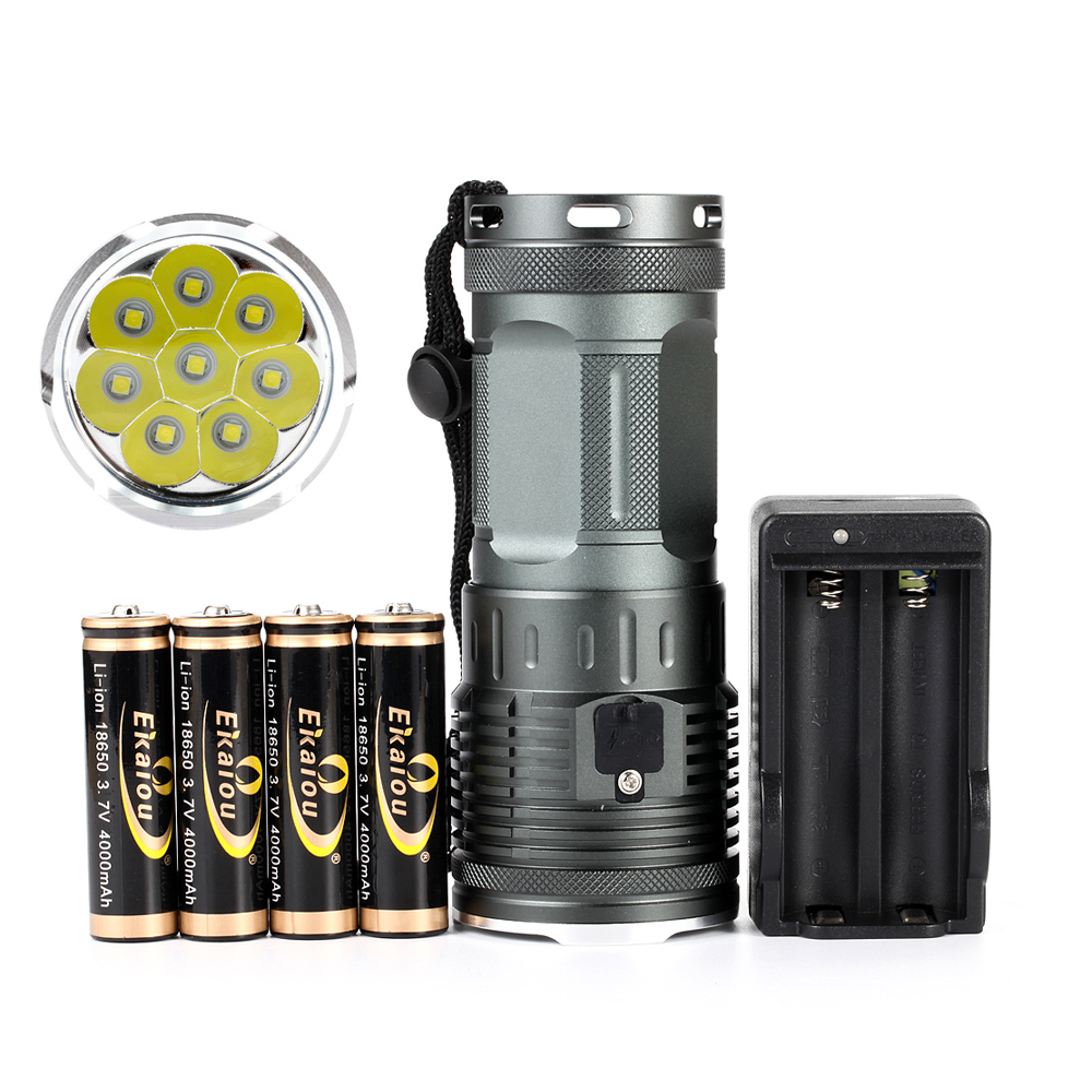 2019 new Powerful 8 x XML L3 20000 Lumen Waterproof led flashlight 4x18650 battery Camping Hunting