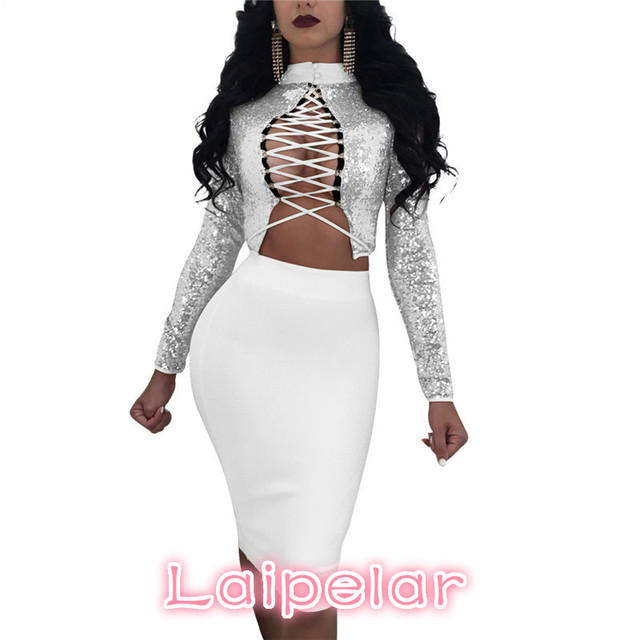 Laipelar Lace Up Sequin Bandage Dress Suit Two Piece Set Women Long Sleeve  Crop Top and Skirt Sexy Club Set 2pcs Outfit D53AH-71 8726ec716