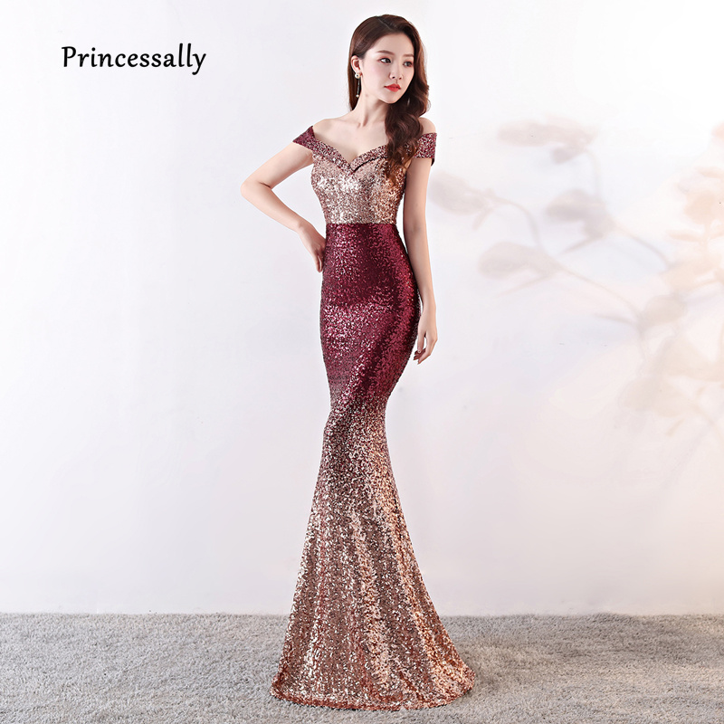 New Elegant Sequined Mermaid Evening Gown Slim Sexy V neck Color Fade Formal  Women Dress For Wedding Party Robe De Soriee 2019 47d454b80d7d