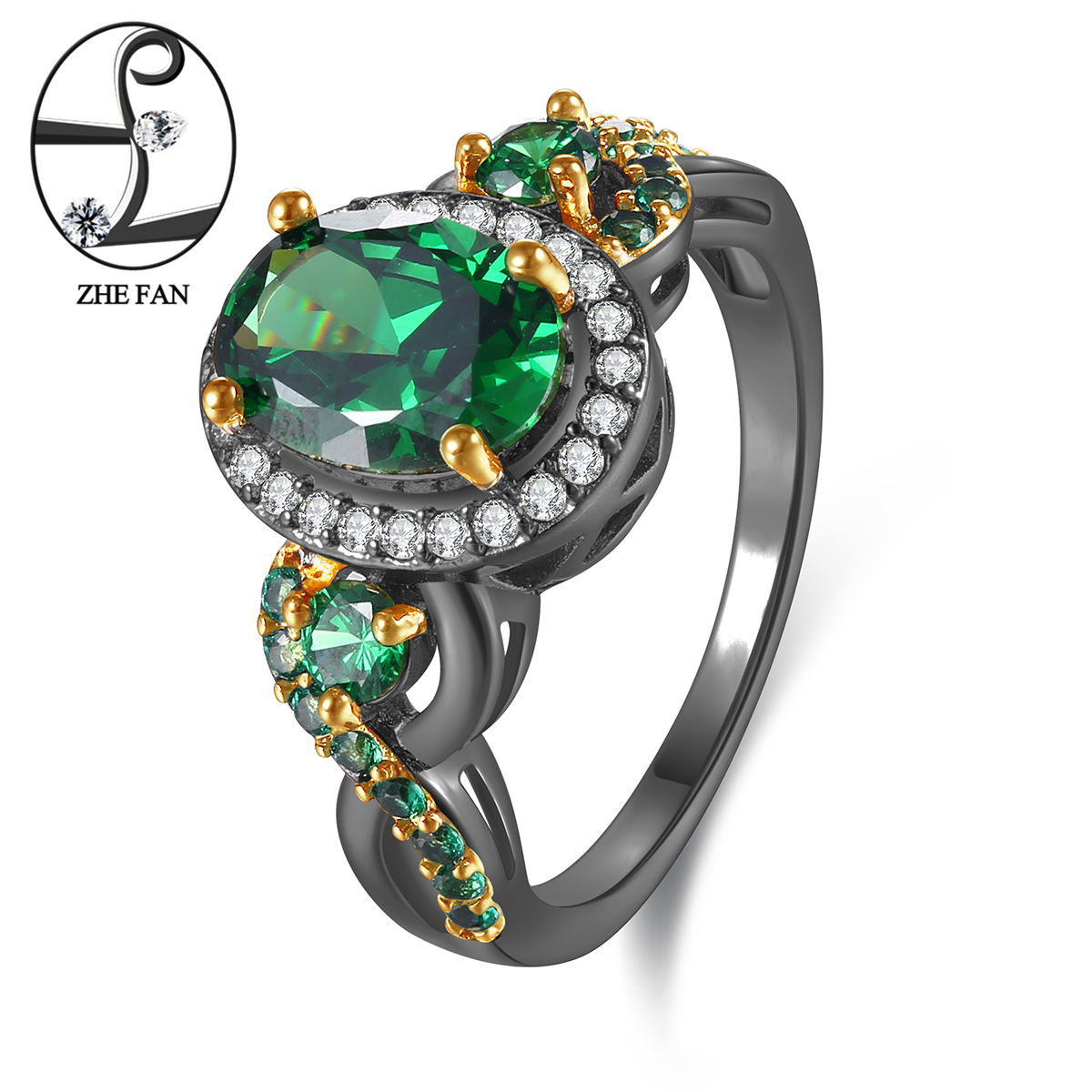ZHE FAN Cubic Zirconia Engagement Ring Women Oval Green Stone Black Gold Color Plating Luxury Jewelry Female Gift