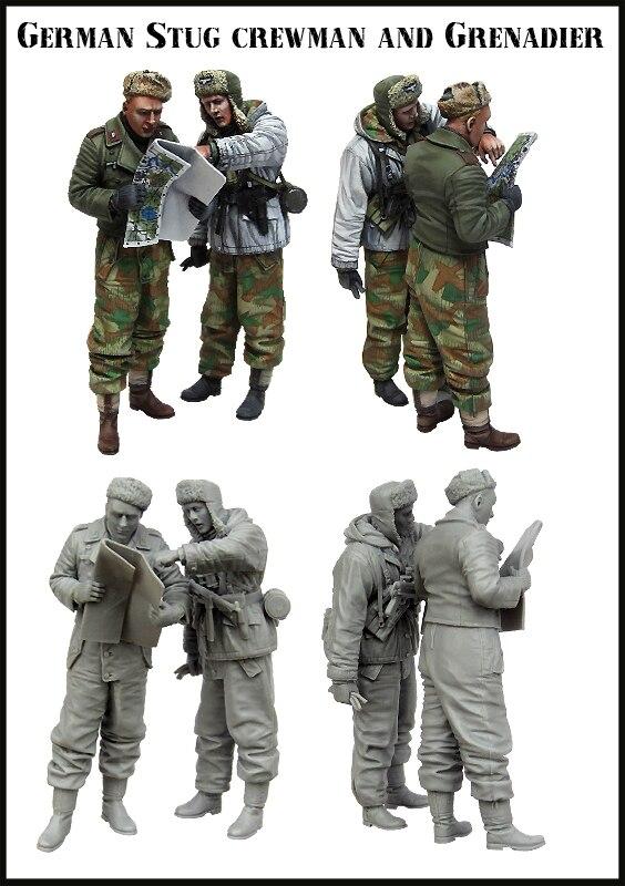 1/35 Resin Figures Model Ket WWII GERMAN STUG CREWMAN AND GRENADIER Unassambled  Unpainted