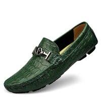 Plus Size EUR38 48 Designer Alligator Leather Printed Shoes Mens Leather Flats Men S Driver Loafers