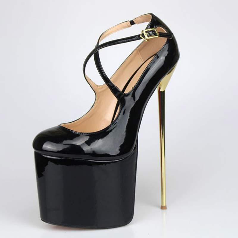 ФОТО Plus: 40-50 summer round Brand 16CM Metallic Thin High Heels In Patent Leather  Red  Women Pumps Wedding Platform Ladies shoes