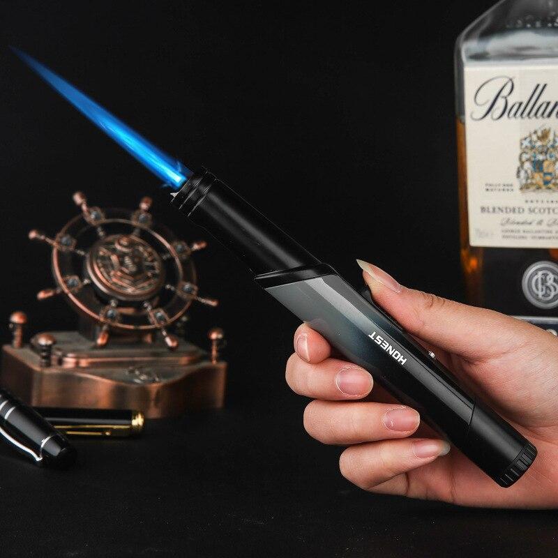 Nueva llama fuerte recta antorcha Jet encendedor de cigarrillos de Gas butano más ligero mujeres cocina Diseño polígono llama ajustable