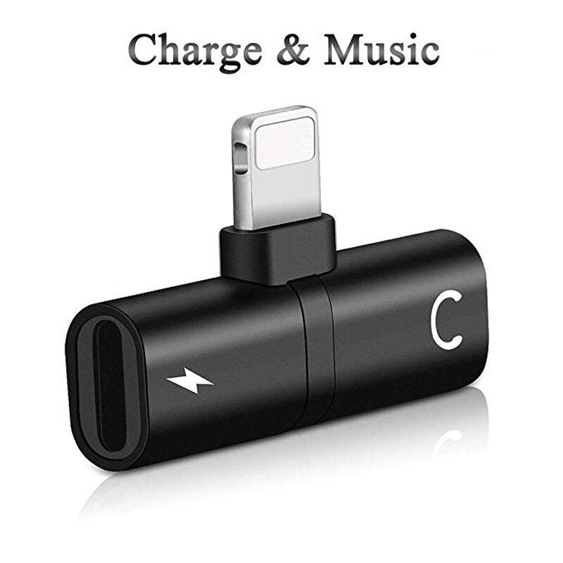 Hörlursadapter för iPhone 8 8Plus 77 Plus Mini hörlurskontakt Konverterare 2 i 1 Tillbehör Kablar Musik Wire Control