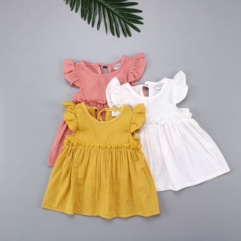 Flying Sleeve Ruffles Summer Cotton Kids Baby Girls Mini Dress Casual Girl Blouses For Children Clothing Shirts Dress