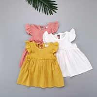Vestido corto informal de algodón con volantes para niñas, minivestido informal con mangas voladoras para verano