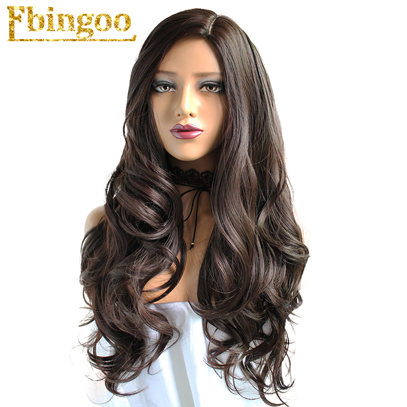 Ebingoo Side Part High Temperature Fiber Long Body Wave Hair Wigs #2 Dark Brown Synthetic Wig For Women