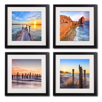 Seascape Canvas Wall Art Photos Printed Sunrise Paintings Beach Sunset Seaview Poster 4 Piece Wall Home Decor